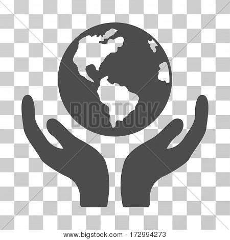 International Insurance vector pictogram. Illustration style is flat iconic gray symbol on a transparent background.