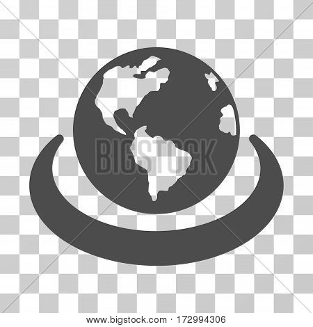 International Network vector icon. Illustration style is flat iconic gray symbol on a transparent background.