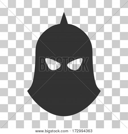 Knight Helmet vector pictogram. Illustration style is flat iconic gray symbol on a transparent background.
