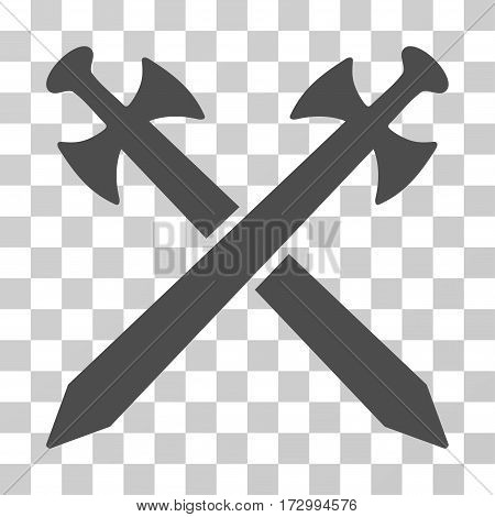 Medieval Swords vector icon. Illustration style is flat iconic gray symbol on a transparent background.
