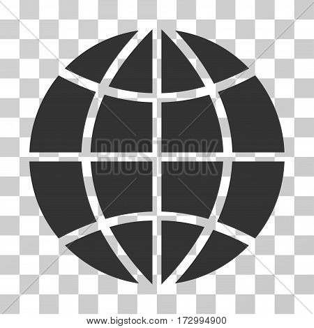 Planet Globe vector pictogram. Illustration style is flat iconic gray symbol on a transparent background.