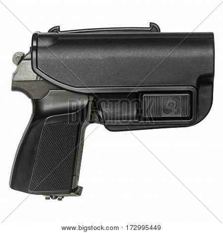 gun in the holster protective, isolated white background