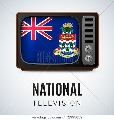 Vintage TV and Flag of Cayman Islands as Symbol National Television. Tele Receiver with flag design