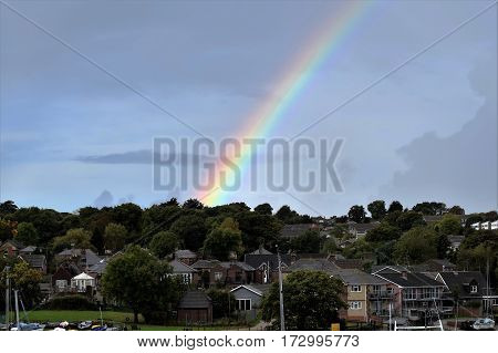Rainbow mid morning over the Isle of Wight, England