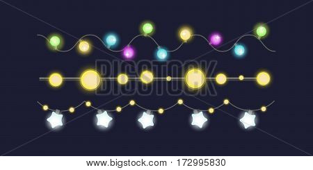 Glowing christmas garland light bulbs for xmas holiday greeting cards design and celebration party holiday decorative shine elements vector illustration. Glowing illuminated colorful decor.
