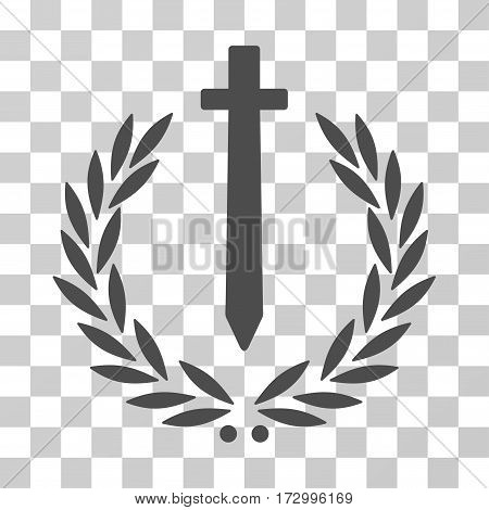 Sword Honor Embleme vector pictogram. Illustration style is flat iconic gray symbol on a transparent background.