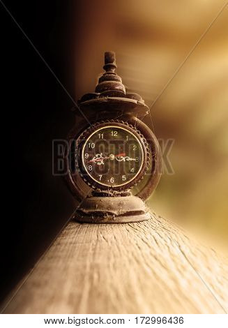 Old Vintage Clock With Cobweb Or Gossamer In Sepia Old Tone