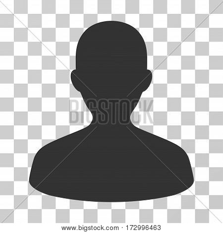 User vector pictogram. Illustration style is flat iconic gray symbol on a transparent background.