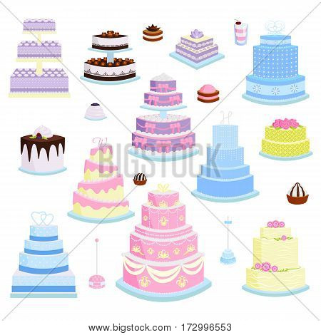 Collection of various cakes on white background. Fresh tasty dessert sweet pastry pie. Gourmet homemade delicious cream traditional bakery tart.