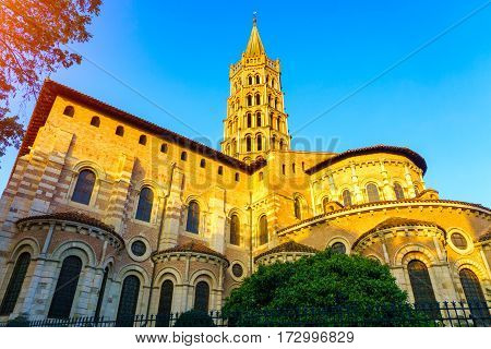 The bell tower of the Basilica of Saint Sernin Toulouse France