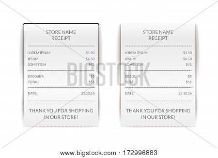 Vector paper atm check illustration. Financial receipt bill. Cafe or restaurant payment sign. Document list.