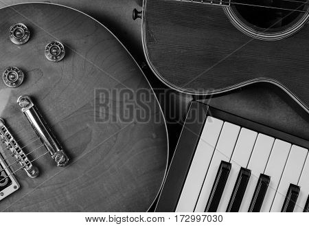Electric guitar and keyboard musical close-up isoled