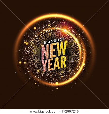 2017 new year vector background glowing circle frame. Light abstract wallpaper. Happy New Year celebration invitation card