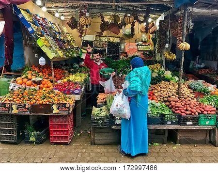Martil, Morocco, February 12, 2017: Fruit and vegetable shop at Martil in Morocco.