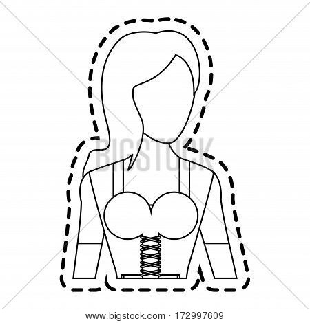 woman with traditional bavarian costume german culture icon image vector illustration design
