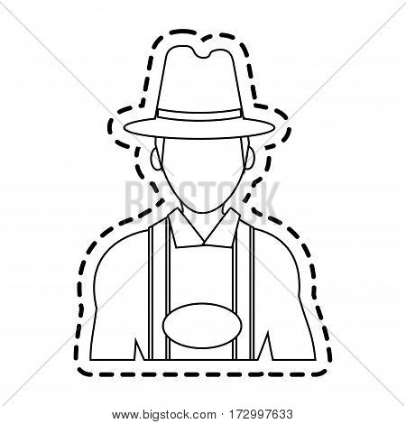 man with traditional bavarian costume german culture icon image vector illustration design