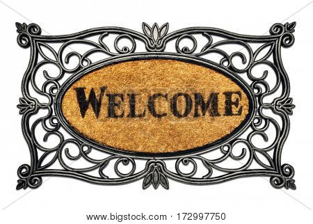 Welcome door mat isolated on a white background -Clipping Path