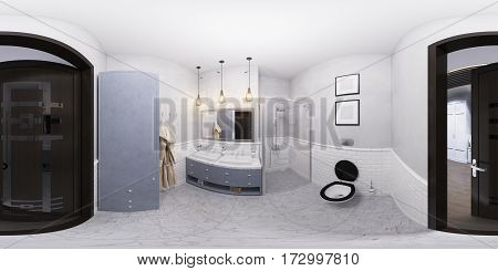 3D illustration of a bathroom interior design in classic style. Render is made, seamless 360 degree spherical panorama