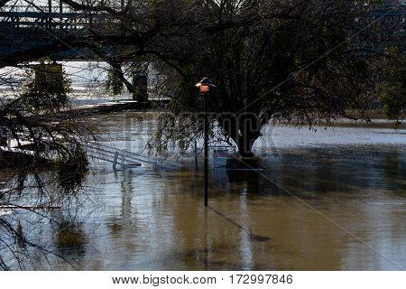 Flood river lamp light still on high water
