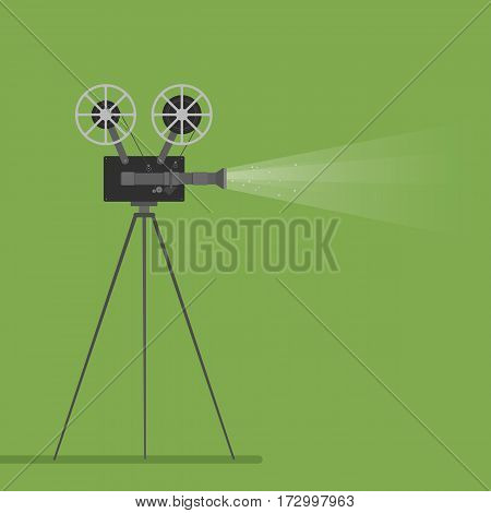 video camera movie film reel going to cinema icon. Colorful illustration. Vector graphic.