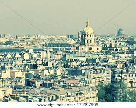 Paris photo from the heights with Les Invalides at the background