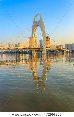 Building landmark Urban landscape of Guangzhou city at sunset time China