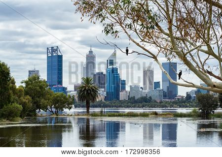 Perth City viewed from South Perth over the Swan River. Western Australia, Australia. February 20, 2017.