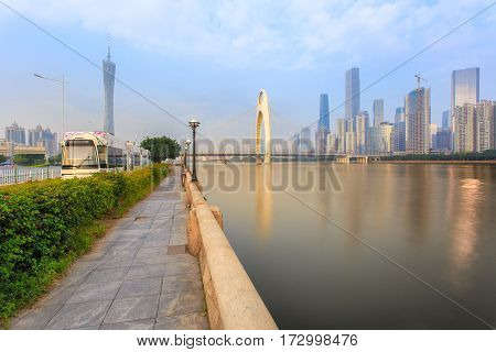 High speed train in urban landscape background Guangzhou city China