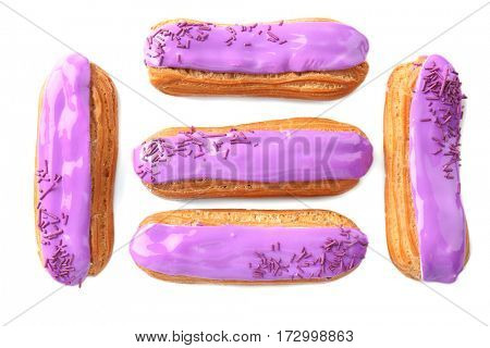Delicious eclairs isolated on white