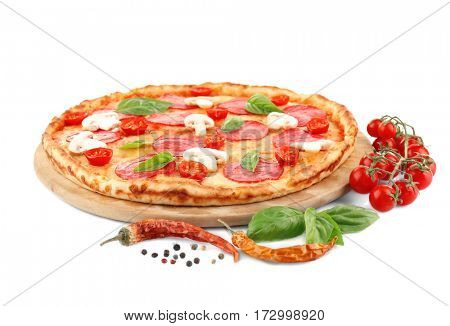 Pizza with salami and mushrooms isolated on white