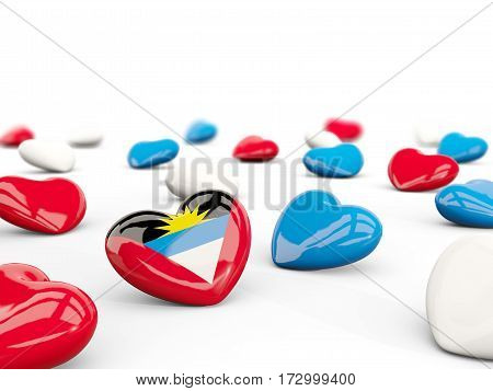 Heart With Flag Of Antigua And Barbuda Isolated On White