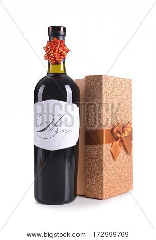 St. Valentines Day concept. Wine bottle and gift box isolated on white