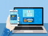 Flat man sitting at desktop and getting access to the website. 2-step authentication SMS code password concept. A man is sitting at a laptop with a mobile phone in his hand. Vector illustration for website poster