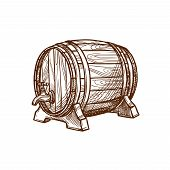 Barrel vector icon or wooden oak cask or keg tun for lager and draught beer, cognac or wine alcohol beverage. Isolated emblem for beer bar and brewpub or pub, brewery company sign and beer festival poster