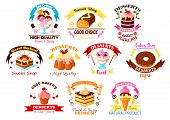 Cakes, desserts and sweets vector icons of cupcake tart and donut, roll bun or loaf and pudding with chocolate and ice cream wuth ribbon emblems. For bakery shop design poster
