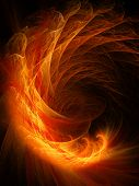 abstract fire flame dragon on dark background poster