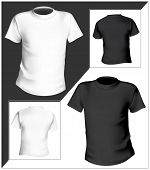 Vector illustration. T-shirt design template (front & back). Black and white. poster