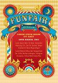 Funfair vector template. Circus tent. Retro poster invite kids. Birthday party invitation. Amusement park ferris wheel carousel. Carnival festival cabaret. Funfair background vintage ribbon. poster