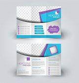 Brochure design template for business, education, advertisement. Trifold booklet vector illustration. Blue and purple color. poster