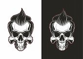 Frontal skull with hair. Barbershop skull illustration on white and black backgrounds. poster