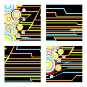 inca abstract square designs with subtle inca colours on a contrasting black background poster