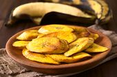 Fried slices of ripe plantains a traditional and popular snack and accompaniment in Central America and Northern South America photographed with natural light (Selective Focus Focus on the front of the top slice) poster