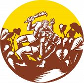Illustration of Samoan legend wielding a club Nifo'oti weapon defeating the god with taro plant in background done in retro woodcut style poster