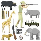 Cartoon hunter aiming rifle africa shotgun with compass, rifle, binoculars and jeep car and explorer pursuit hunting sport target icons vector illustration. Activity aim character adventure tourism. poster
