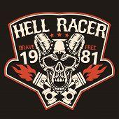 Motorcycle t-shirt graphics. Skull rider with pistons, horned demon. Racer community emblem. Biker vintage apparel print. Vector poster