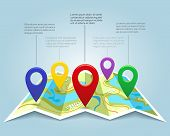 Map with pin markers vector illustration. Cartography location pointers. Banner with map marks and color pins poster