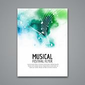 Colorful vector music festival concert template flyer. Musical flyer design poster with notes. poster