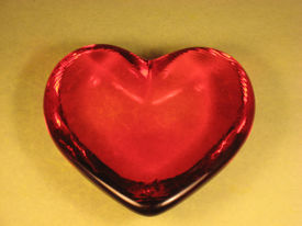 Red Glass Heart Shaped   Paperweight