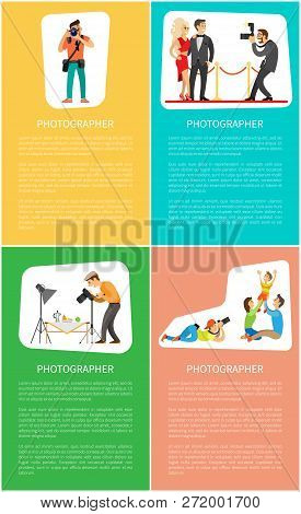 Photographer profession and genres promo banners. Photojournalist with camera, paparazzi shooting celebrities, family portrait vector illustrations. poster
