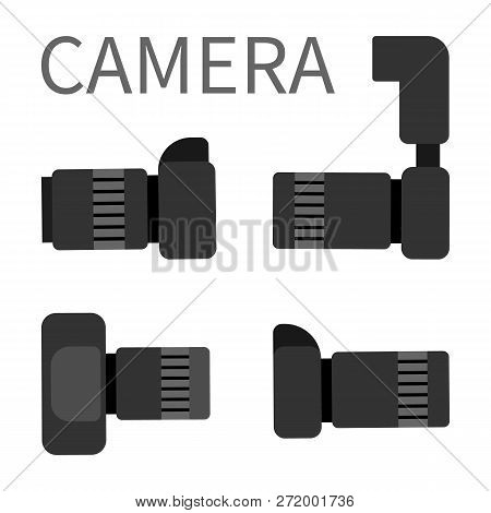 Camera Studio Photography Equipment With Zoom, Analog Gear With Flash Light Vector Illustration. Dig